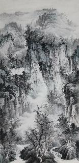 Chinese Village Countryside Painting,69cm x 138cm,wym11088019-x