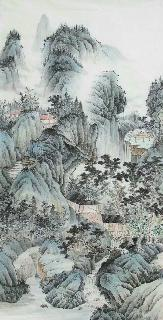 Chinese Village Countryside Painting,69cm x 138cm,wym11088020-x