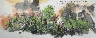 Chinese Village Countryside Painting,70cm x 180cm,xm11094001-x