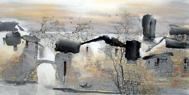 Chinese Water Township Painting,69cm x 138cm,1047020-x