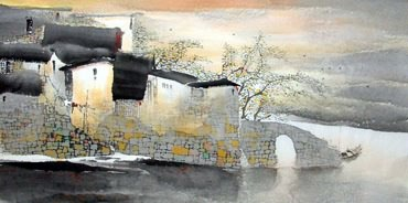 Chinese Water Township Painting,69cm x 138cm,1047021-x