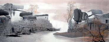 Chinese Water Township Painting,70cm x 180cm,1047022-x