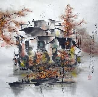 Chinese Water Township Painting,45cm x 45cm,1195003-x