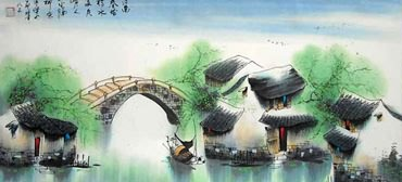 Chinese Water Township Painting,57cm x 120cm,1195011-x