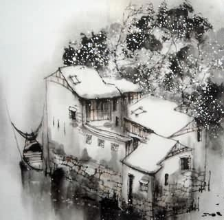 Chinese Water Township Painting,50cm x 50cm,1195024-x