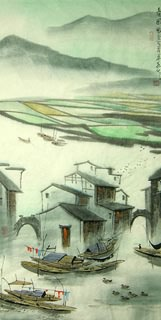 Chinese Water Township Painting,45cm x 92cm,1197002-x