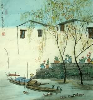 Chinese Water Township Painting,45cm x 48cm,1197003-x
