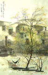 Chinese Water Township Painting,46cm x 70cm,1197005-x