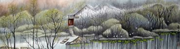 Chinese Water Township Painting,35cm x 136cm,1199005-x