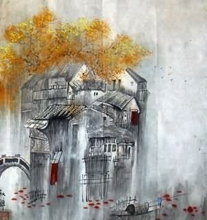 Chinese Water Township Painting,45cm x 45cm,1199006-x
