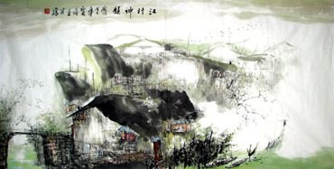 Chinese Water Township Painting,69cm x 138cm,1202004-x
