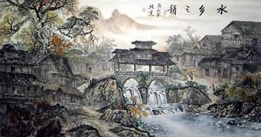 Chinese Water Township Painting,97cm x 180cm,1203001-x