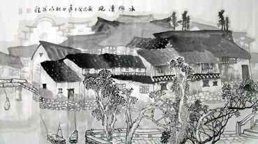 Chinese Water Township Painting,50cm x 100cm,1204003-x