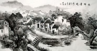Chinese Water Township Painting,66cm x 136cm,1204004-x