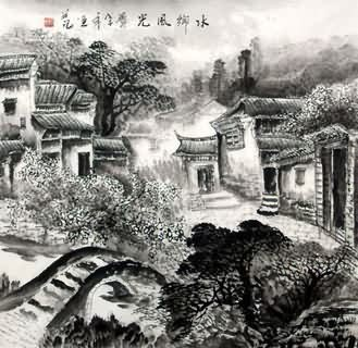 Chinese Water Township Painting,66cm x 66cm,1204005-x