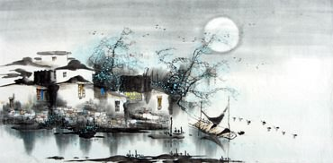 Chinese Water Township Painting,50cm x 100cm,1205003-x