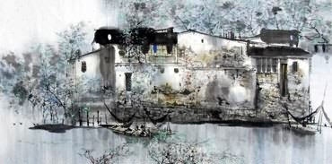 Chinese Water Township Painting,50cm x 100cm,1205004-x