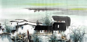 Chinese Water Township Painting,50cm x 100cm,1205006-x