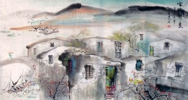 Chinese Water Township Painting,50cm x 100cm,1452027-x