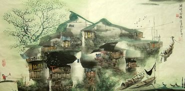 Chinese Water Township Painting,50cm x 100cm,1457004-x