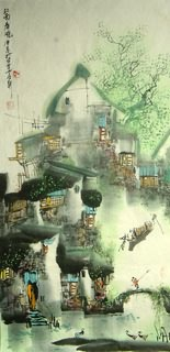 Chinese Water Township Painting,50cm x 100cm,1457005-x