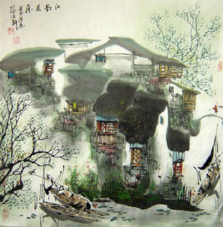 Chinese Water Township Painting,69cm x 69cm,1457006-x