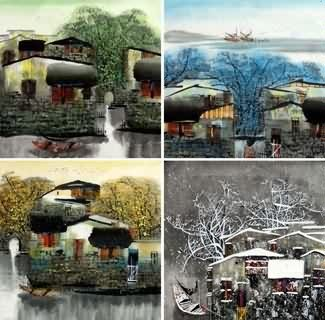 Chinese Water Township Painting,50cm x 50cm,1464007-x
