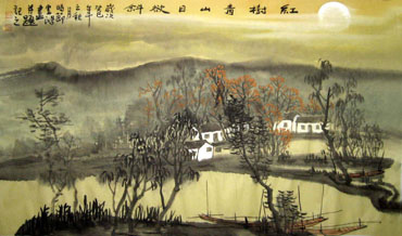 Chinese Water Township Painting,50cm x 80cm,1579041-x
