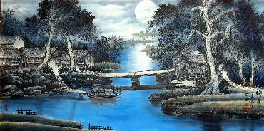 Chinese Water Township Painting,66cm x 136cm,1738002-x