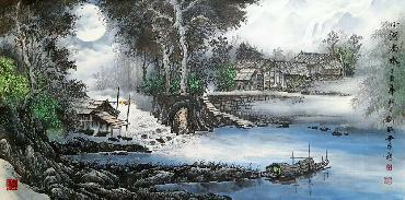 Chinese Water Township Painting,66cm x 136cm,1738003-x