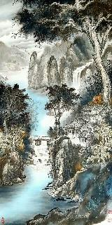 Chinese Water Township Painting,66cm x 136cm,1738004-x