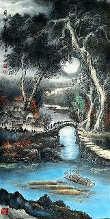 Chinese Water Township Painting,66cm x 136cm,1738005-x