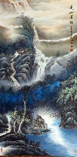 Chinese Water Township Painting,66cm x 136cm,1738006-x
