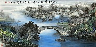 Chinese Water Township Painting,66cm x 136cm,1738007-x