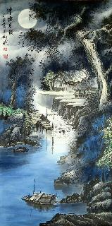Chinese Water Township Painting,66cm x 136cm,1738008-x