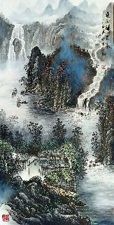 Chinese Water Township Painting,66cm x 136cm,1738009-x