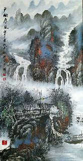 Chinese Water Township Painting,66cm x 136cm,1738010-x