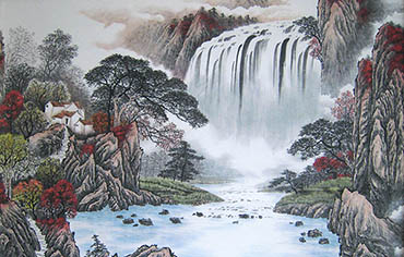 Chinese Waterfall Painting,100cm x 160cm,1011021-x