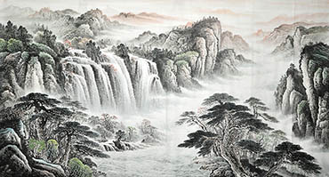 Chinese Waterfall Painting,90cm x 180cm,1011023-x