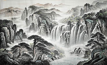 Chinese Waterfall Painting,90cm x 180cm,1011024-x