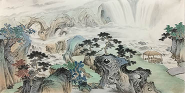 Chinese Waterfall Painting,68cm x 136cm,1011105-x
