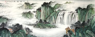 Chinese Waterfall Painting,96cm x 239cm,1021007-x