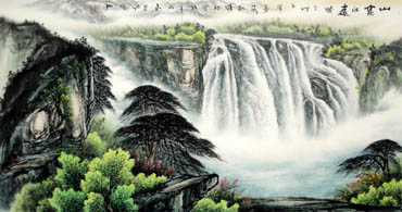 Chinese Waterfall Painting,66cm x 136cm,1033005-x