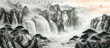 Chinese Waterfall Painting,70cm x 180cm,1033009-x