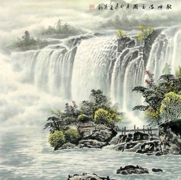Chinese Waterfall Painting,66cm x 66cm,1033010-x