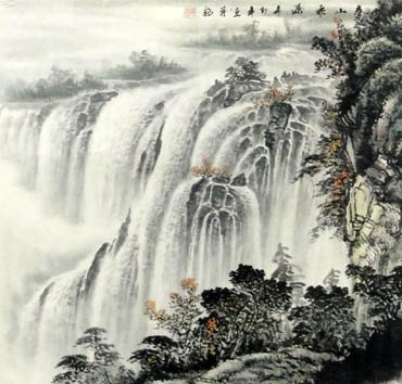 Chinese Waterfall Painting,66cm x 66cm,1033011-x