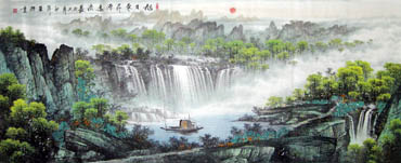 Chinese Waterfall Painting,96cm x 240cm,1047017-x