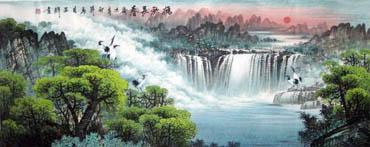 Chinese Waterfall Painting,70cm x 180cm,1047019-x