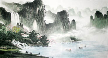 Chinese Waterfall Painting,97cm x 180cm,1057011-x