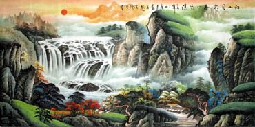 Chinese Waterfall Painting,69cm x 138cm,1058011-x